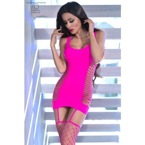 Chilirose Roze jurkje met grofmazige netkousen
