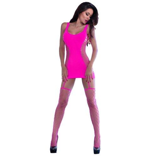Chilirose Chilirose - Roze jurkje met grofmazige netkousen