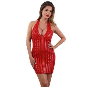 Spazm Gestreepte rode mini-jurk