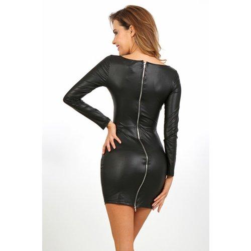 Spazm Zwart wetlook jurkje met lange mouw