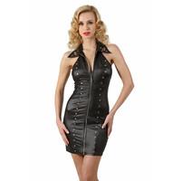 Zwart wetlook jurkje met overhemdkraag