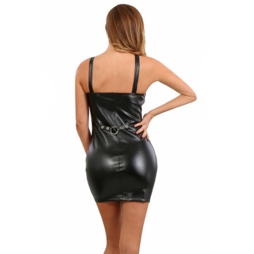Spazm Leatherlook jurkje met harnaseffect