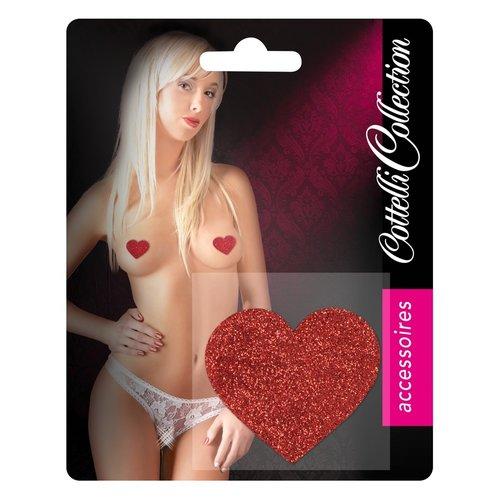 Cottelli Collection Sprankelende rode hartvormige tepelstickers