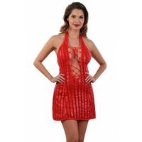 Gestreepte rode mini-jurk  met vetersluiting