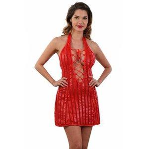 Spazm Gestreepte rode mini-jurk  met vetersluiting