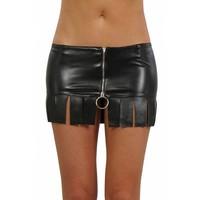 Zwart leatherlook rokje  met rits
