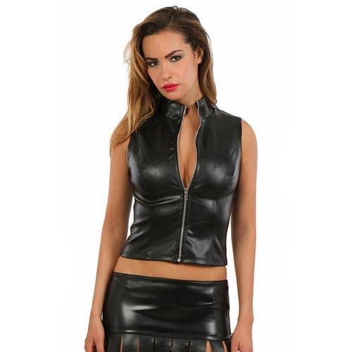 Spazm Zwart leatherlook topje met rits