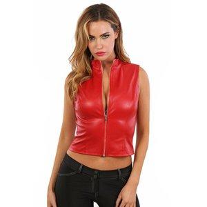 Spazm Rood leatherlook topje met rits
