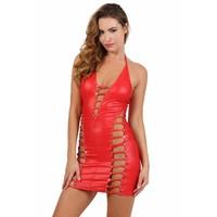 Rood wetlook jurkje met strass