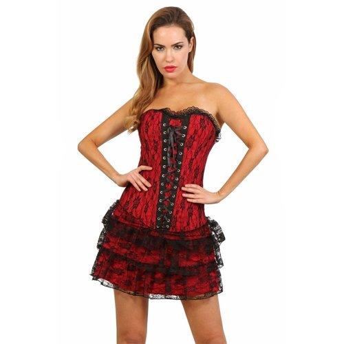 Spazm Rood zwart korset jurkje
