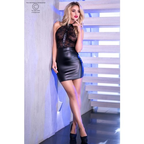 Chilirose Mouwloos zwart leatherlook jurkje