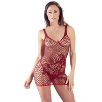Sensueel rood netstof mini-jurkje