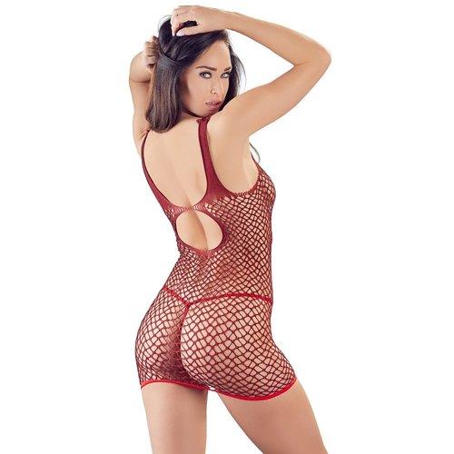 Mandy Mystery Sensueel rood netstof mini-jurkje