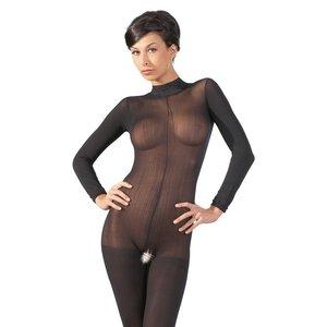 Mandy Mystery Zwarte catsuit  met lange mouwen