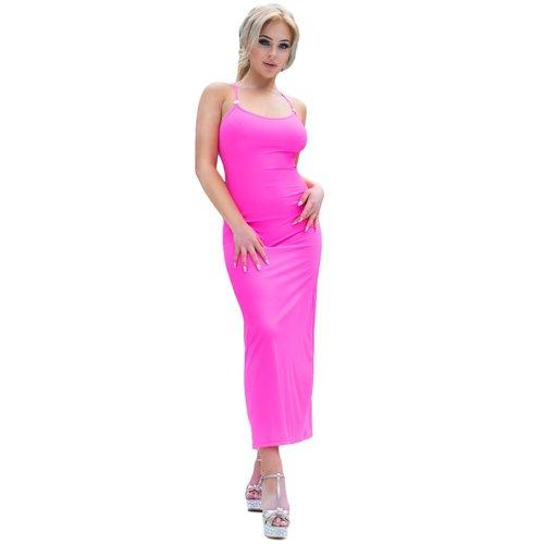 Chilirose Sexy lange neon-pink zomerjurk