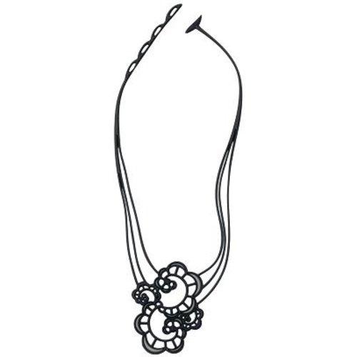 Batucada Japanese Flower Halsketting Zwart -Goud