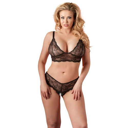Cottelli Collection Zwart kanten lingerie setje