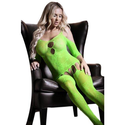 overig Neon groene jarretel catsuit