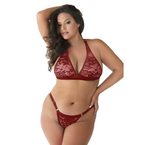 Allure Rode mesh  lingerieset