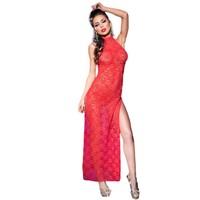 Rode kanten lange jurk