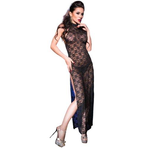 Chilirose Zwarte kanten lange jurk