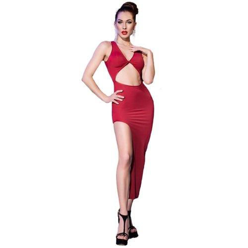 Chilirose Rode lange jurk