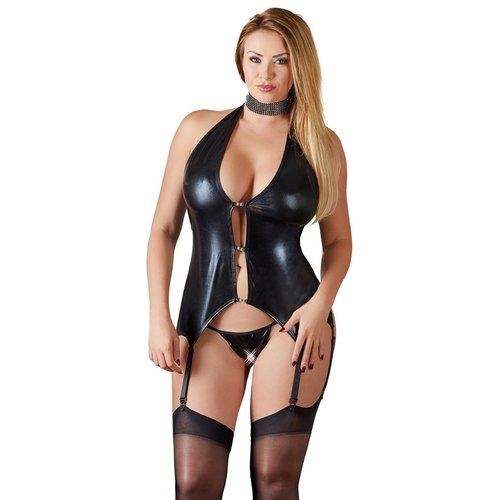 Cottelli Collection Zwart wetlook jarretel hemd/jurkje