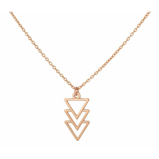 Necklace triangle pendant - silver rose gold plated - 0931