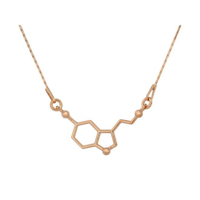 Ketting serotonin molecuul - zilver rosé verguld - 0933