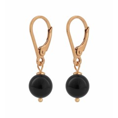 Earrings black pearl - silver rose gold plated - 0929