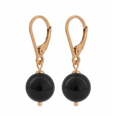 Earrings black pearl - silver rose gold plated - 0930