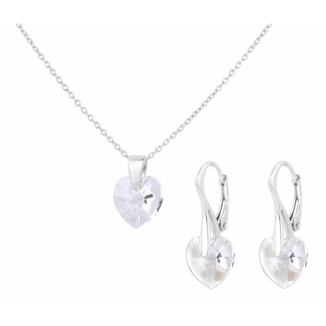 Sieraden set zilver kristal hartje - 0935