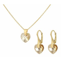 Jewelry set silver gold plated crystal heart - 0936