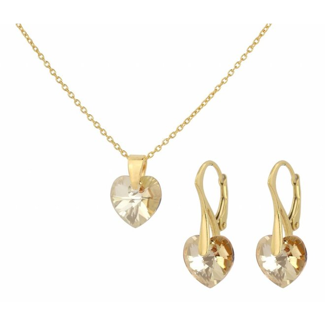 Sieraden set zilver verguld kristal hartje - 0936