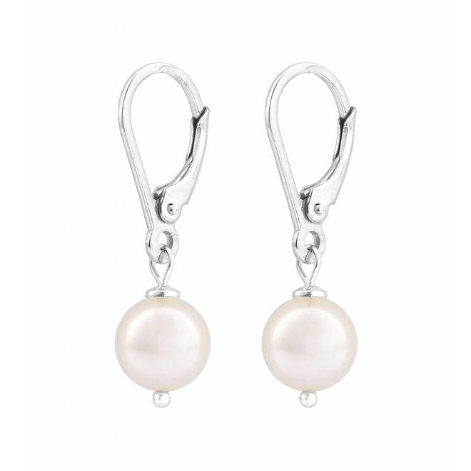Oorbellen witte parel - sterling zilver - 0940