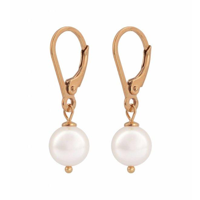 Ohrringe weiße Perle 8mm - Sterling Silber rosé vergoldet - ARLIZI 0944 - Noa