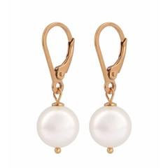Ohrringe weiße Perle - Silber rosé vergoldet - 0945