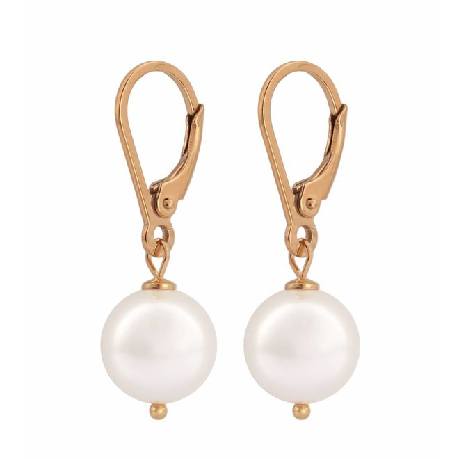 Earrings white pearl - silver rose gold plated - 0945