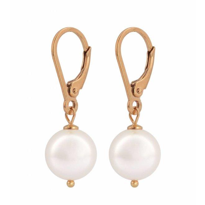 Ohrringe weiße Perle 10mm - Sterling Silber rosé vergoldet - ARLIZI 0945 - Noa