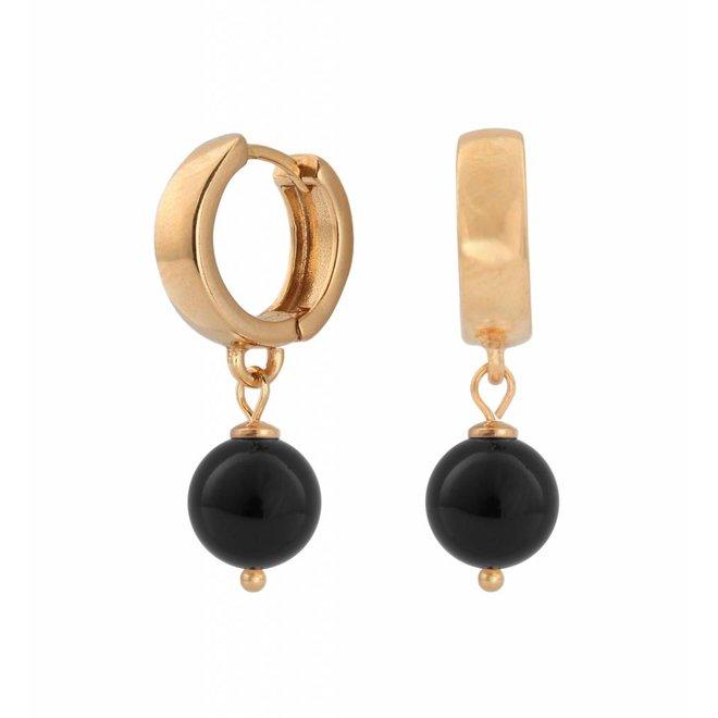 Earrings black pearl hoops - rose gold plated sterling silver - ARLIZI 0816 - Natalia