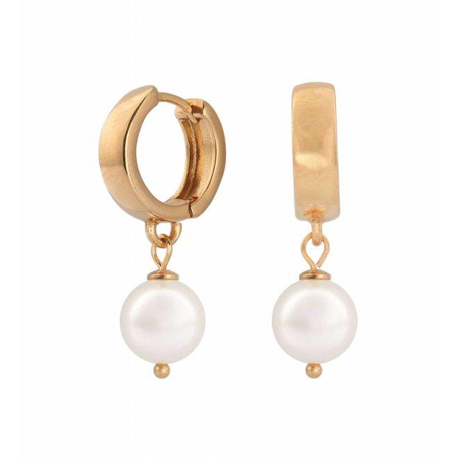 Ohrringe weiße Perle Creolen - Sterling Silber rosé vergoldet - ARLIZI 0952 - Natalia