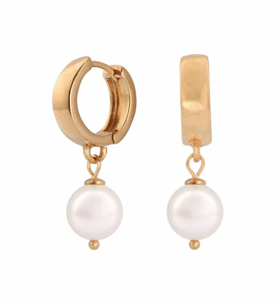 ddcd0e02f Earrings white pearl hoops - rose gold plated sterling silver - ARLIZI 0952  - Natalia