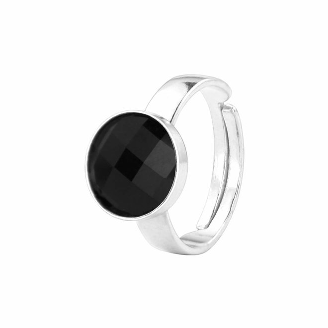 Ring schwarz Kristall - Sterling Silber - 0954