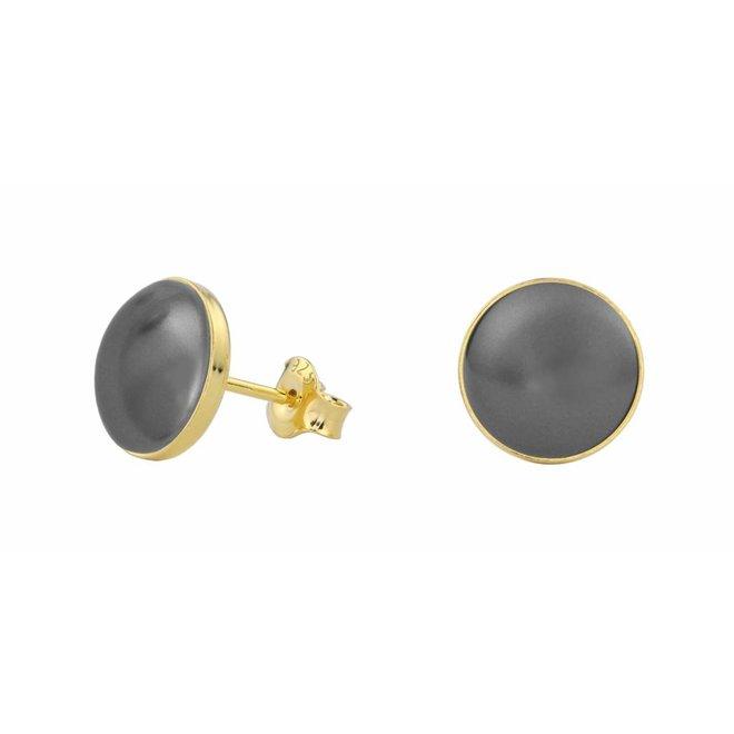 Ohrringe graue Perle - Silber vergoldet - 0990