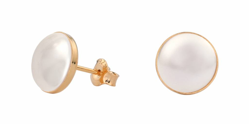 4a105568f Earrings white pearl ear studs 10mm - rose gold plated sterling silver -  ARLIZI 0993 - Lola