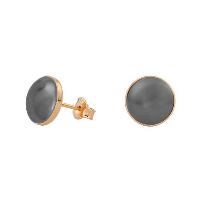 Earrings grey pearl ear studs 10mm - rose gold plated sterling silver - ARLIZI 0994 - Lola