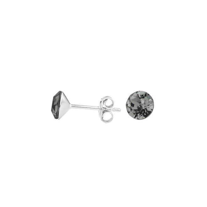 Oorbellen grijs kristal - sterling zilver - 1005