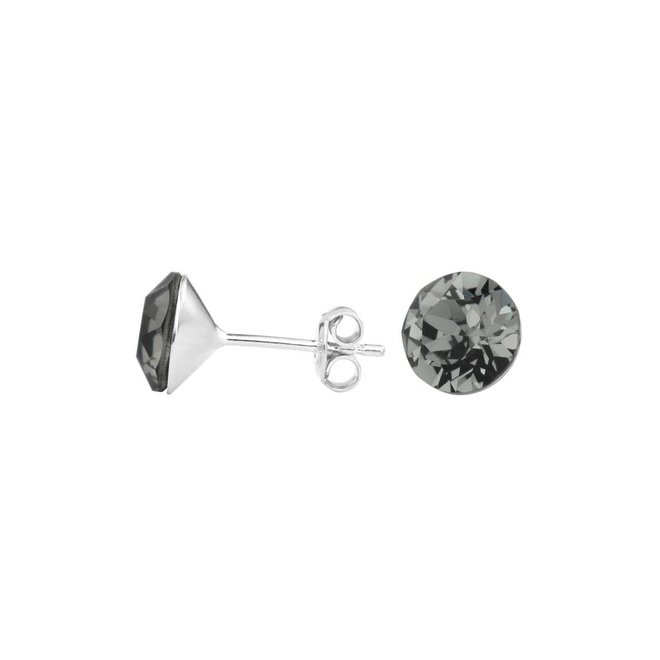 Earrings grey crystal - sterling silver - 1006