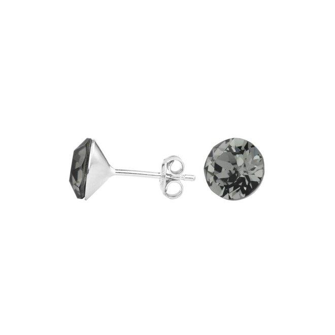 Earrings grey Swarovski crystal ear studs 8mm - sterling silver - ARLIZI 1006 - Lucy