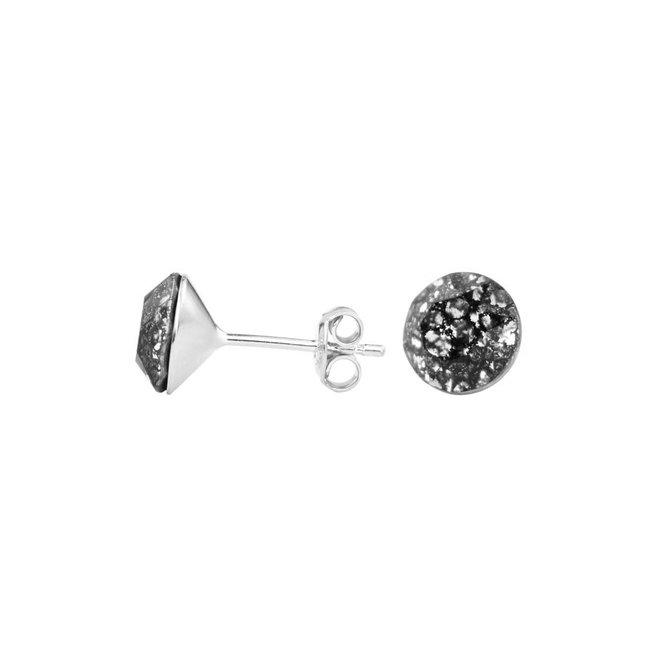 Earrings black Swarovski crystal ear studs 8mm - sterling silver - ARLIZI 1010 - Lucy